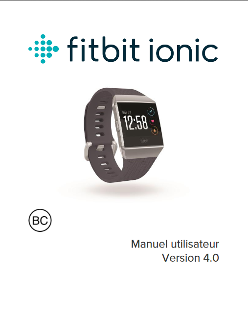 Manuel d'utilisation du bracelet connecté Fitbit Ionic (FR)