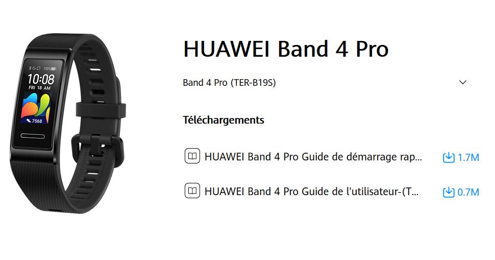 Manuel d'utilisation du bracelet connecté Huawei Band 4 Pro (FR)