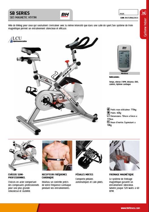 Manuel d'utilisation du velo de spinning BH Fitness SB3 Magnetic H919N (FR)