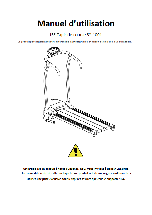 Manuel d'utilisation du tapis de course ISE Madrid SY-1001 (FR)
