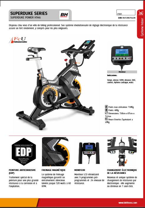 Manuel d'utilisation du velo de spinning BH Fitness Superduke Power H946N (FR)